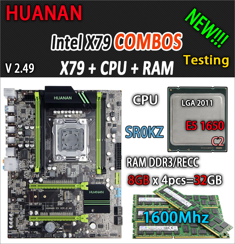 HUANAN golden V2.49 X79 motherboard LGA2011 ATX combos E5 1650 C2 SR0KZ 4 x 8G 32GB 1600Mhz USB3.0 SATA3 PCI-E NVME M.2 SSD deluxe edition huanan x79 lga2011 motherboard cpu ram combos xeon e5 1650 c2 ram 16g 4 4g ddr3 1333mhz recc gift cooler