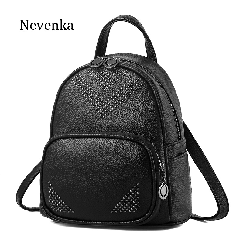 цены на NEVENKA Women Rivet Simple Design Backpack Female Casual Life Style Backpacks For Girl Fashion Solid PU Leather Shcool Bag Bags в интернет-магазинах