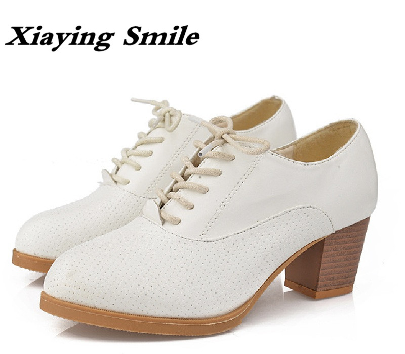 Xiaying Smile New Spring Autumn Women Shoes British Style Retro Casual Pantshoes Lace Shoes Square Heel Pointed Toe Rubber Pumps xiaying smile summer women sandals casual fashion lady square heel slip on flock shoes pointed toe cover heel lace bowtie shoes