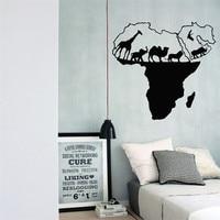 Vinyl Art Naklejki Dzikiej Przyrody Zwierzęcy Mapa Świata Afryki Wystrój Domu Naklejki Ścienne Salon Sypialnia Dekoracji Ściany Ścienne