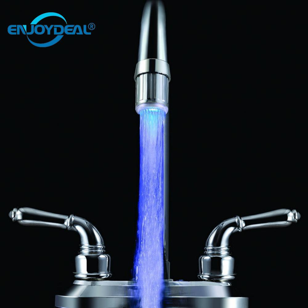 Novelty Light Universal LED Water Faucet Light Waterfall Glow Shower Stream Tap Adapter Kitchen Bathroom Shower Accessories