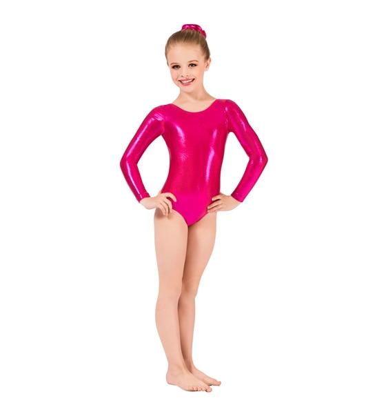 Mandy Girls Shiny Long Sleeve Thong Black Leotard Lycra Costumes Wetlook Ballet Dance Metallic Unitard Gymnastics