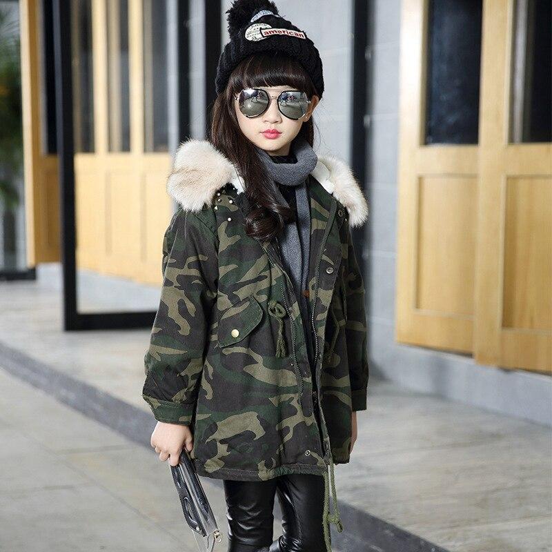ФОТО Children's Garment Girls Loose New Pattern Korean Camouflage Children Thickening Sweat  Coat Kids Clothing Green Fur