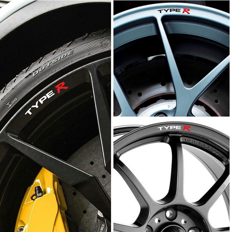 4pcs for Honda TYPE R Rims Alloy Wheels Curved Decals Stickers Civic AccordIntegra crash bar mt 09