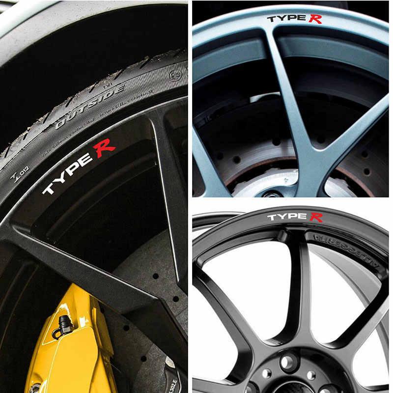 4 stuks voor Honda TYPE R Velgen Lichtmetalen Wielen Gebogen Decals Stickers Civic AccordIntegra