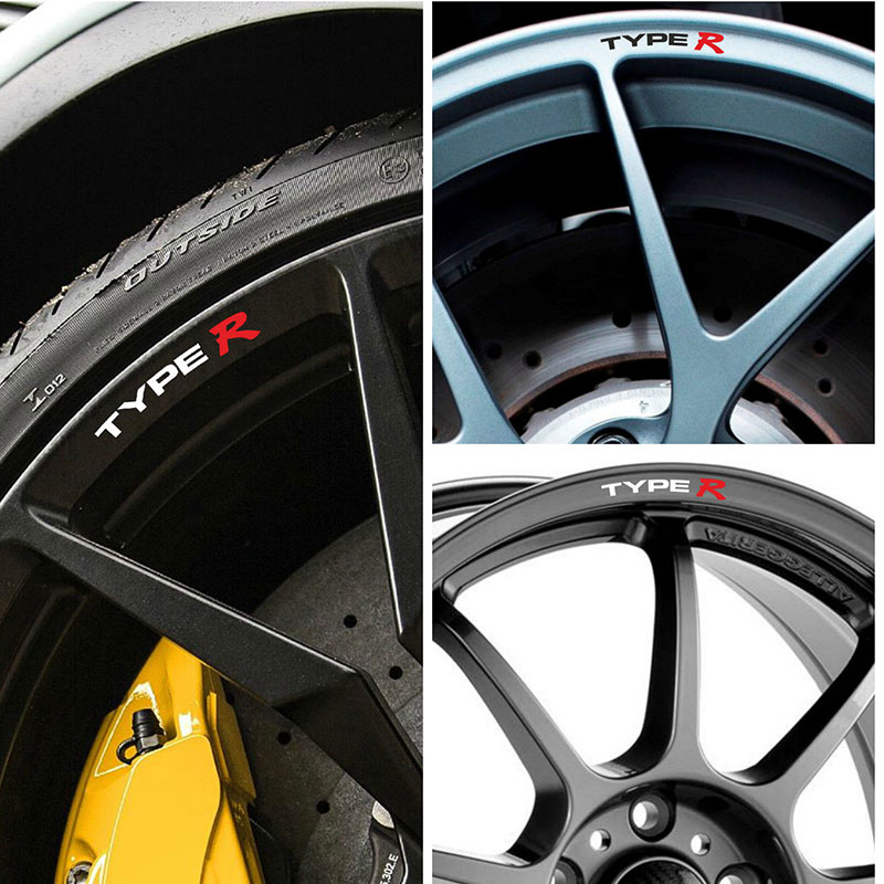 4pcs for Honda TYPE R Rims Alloy Wheels Curved Decals Stickers Civic AccordIntegra-in Car Stickers from Automobiles & Motorcycles