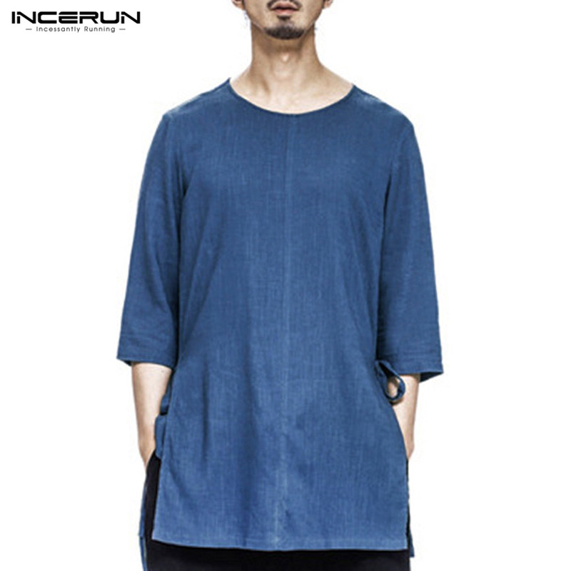 Camisa 2018 INCERUN Summer Chinese Style Casual Cotton Linen Men T-Shirts O Neck 34 Sleeve Loose Shirts Tee Tops Clothing Blusa
