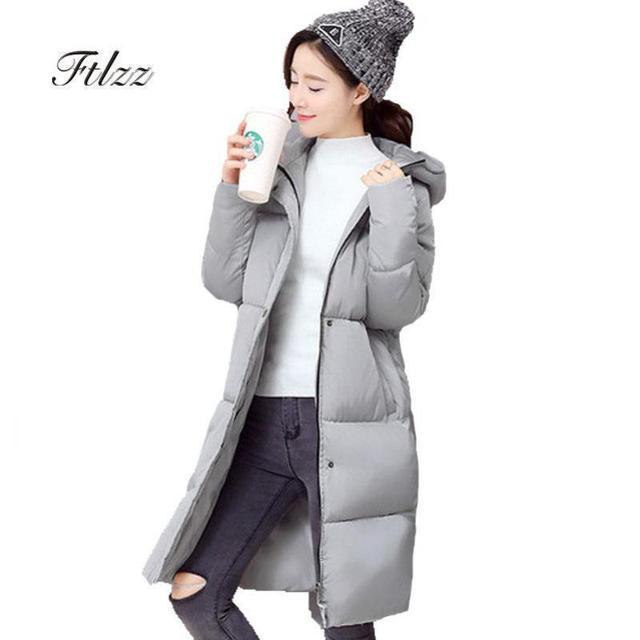 04d523a9d12f € 28.08 |Parka negra larga Meidum nueva de 2018 para mujer, con cremallera  sólida, entallada, con capucha, chaqueta gruesa de otoño e invierno ...