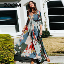 ZOGAA Women Floral Print Party Summer Dress Sexy Long Sleeve V Neck Maxi Dresses Ladies Split Beach Vestidos Boho Sundress