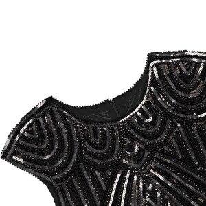 Image 4 - נשים של גטסבי גדולה בציר O צוואר שווי שרוול נצנצים חרוז ציצית 1920s שמלת סנפיר של שואג מסיבת תחפושות