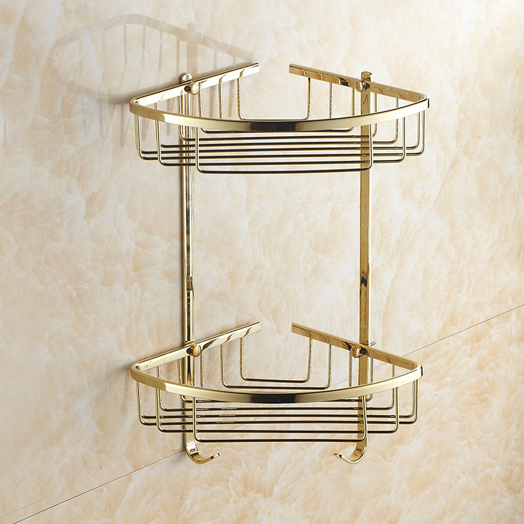 AUSWIND European gold brass polish double corner shelf kitchen product wall mount Shelf bathroom accessories auswind 2 layer silver corner basket bathroom products luxury cosmetic storage bathroom shelf holder bathroom accessorie pf10