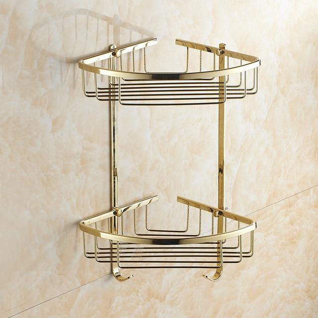 AUSWIND European Gold Brass Polish Double Corner Shelf Kitchen Product Wall  Mount Shelf Bathroom Accessories