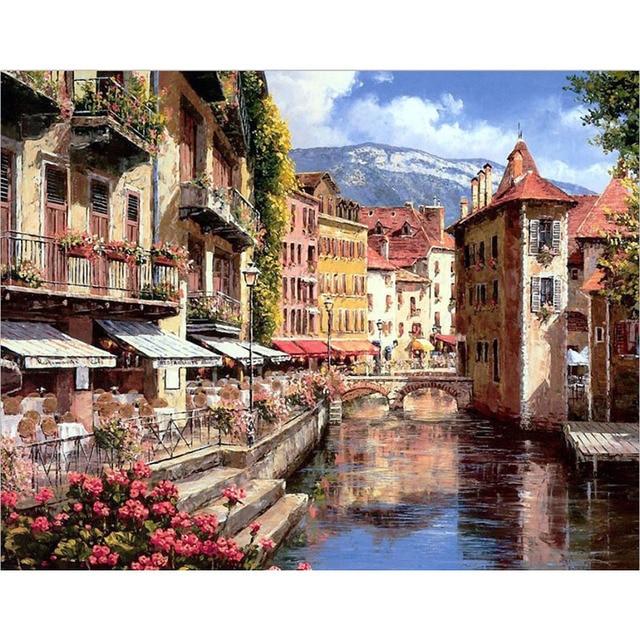 Artsailing Diy Lukisan Dengan Angka Air Venice Kota Pemandangan