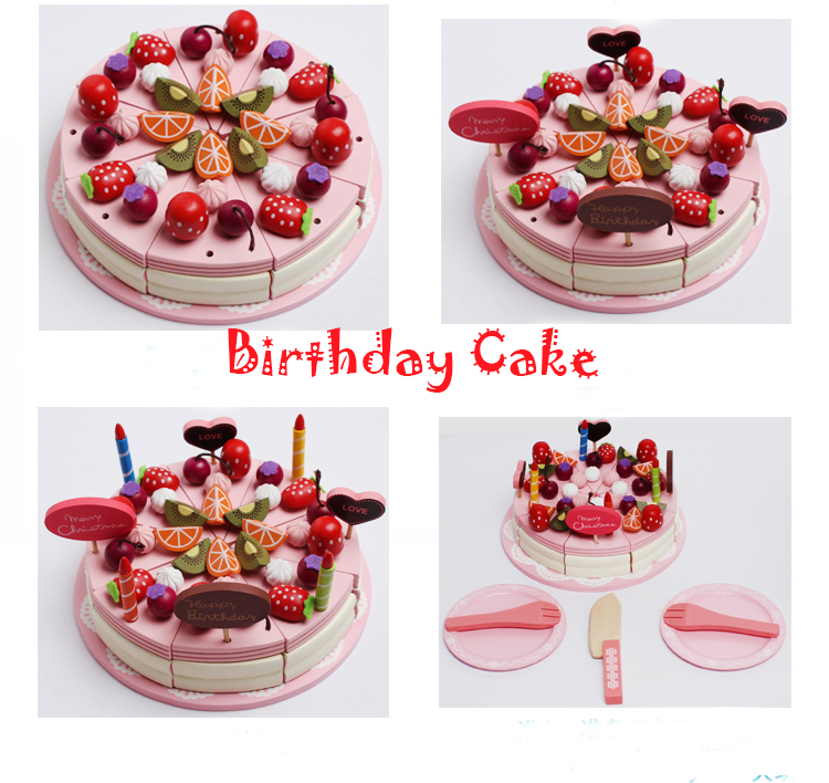 Children's play house toys Simulation fruit cake kitchen Cooking pink mousse cake Model Utensils fake cake Toys girls gifts