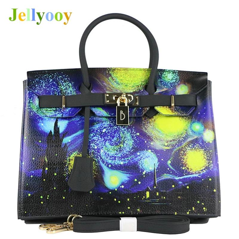 Van Gogh Starry Sky Print Handbags Women Litchi Platinum Tote Bag Scrub Matte Jelly Shoulder Bag Locks Designer Sac A Main 30cm jp a calosse van gogh