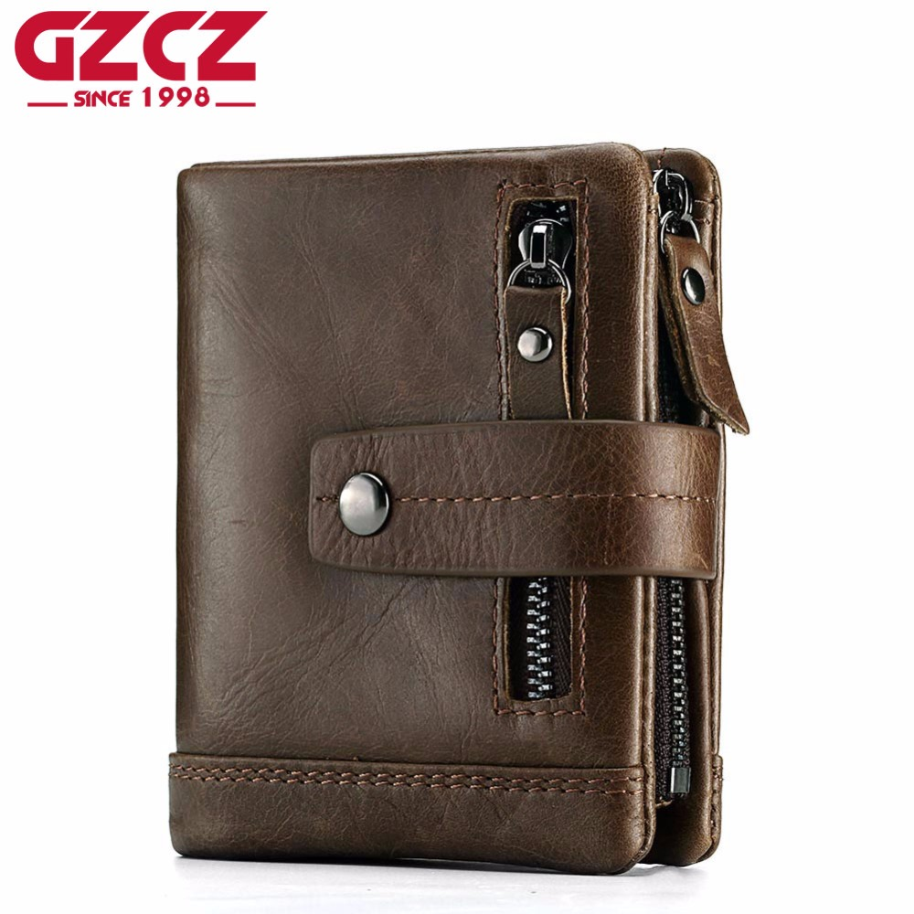 GZCZ Genuine Leather Men Wallets Purse Money Bag Fashion Male Vallet Photo Card Holder Coin Purse Wallet Man Zipper Pouch slymaoyi classical men wallets genuine leather short wallet fashion zipper brand purse card holder wallet man with coin bag page 10