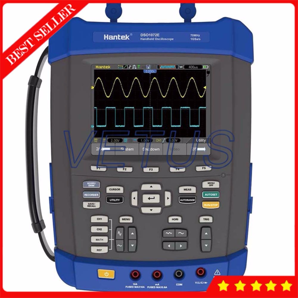 Hantek DSO1072E FFT Spectrum Analyzer <font><b>70MHz</b></font> 2 CH Handheld <font><b>Oscilloscope</b></font> with digital Frequency Counter 6000 Counts DMM Scopemeter image