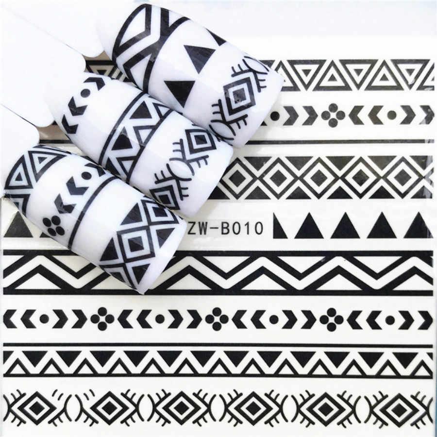 1Pcs Black Paardebloem Mode Vrouwen Nail Sticker Vlinder Bloem Water Transfer Decal Sliders Voor Nail Art Decoratie Tattoo Tip