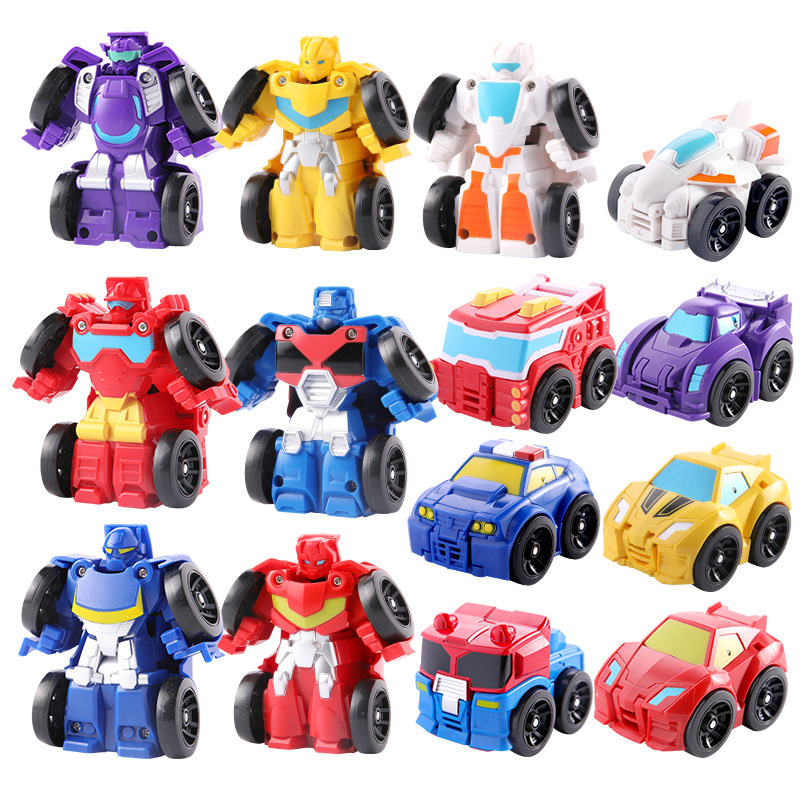 Cartoon Transformation Robot Action Figure Toys Mini Cars Robot Classic Model Toys For Children Gifts Brinquedos