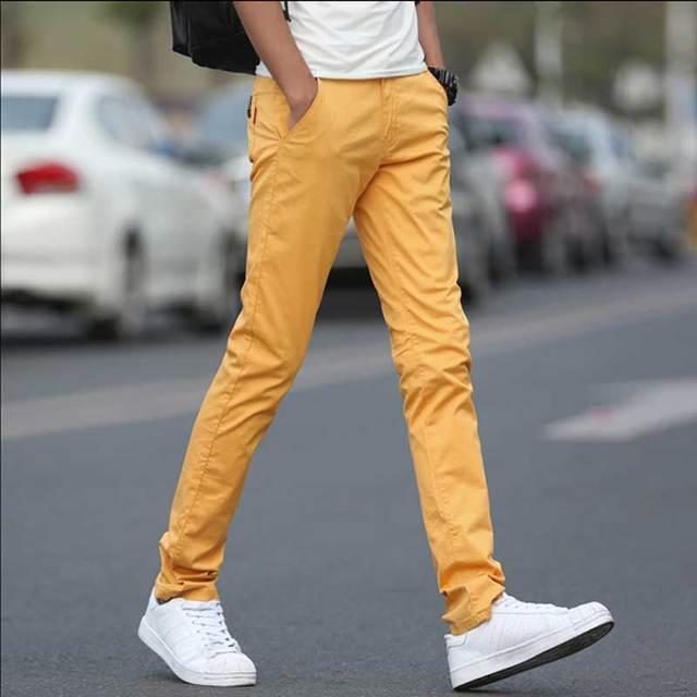 5dcbd6907ea750 Pantaloni Casual da uomo di Alta Qualità di Cotone Stretch Pantaloni Chino  Kaki Giallo Azzurro Nero