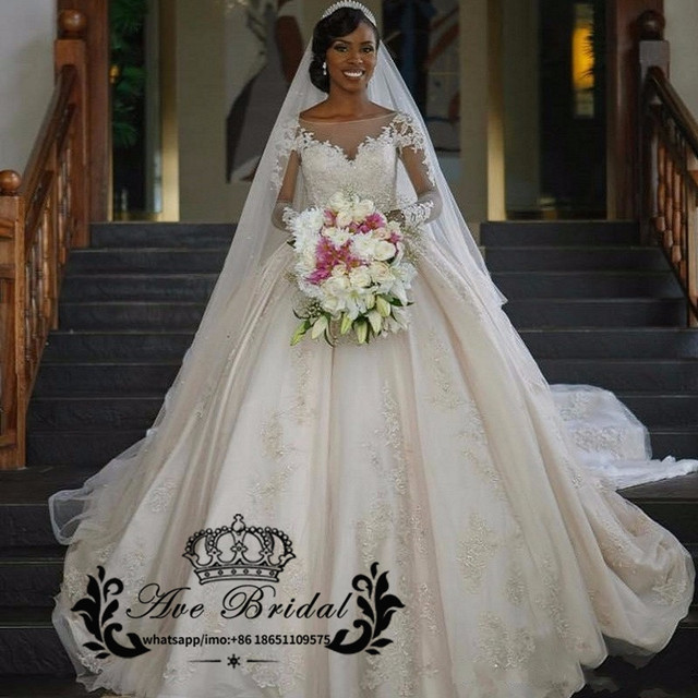 2017 Luxury Cathedral Train African Styles Wedding Dresses Sheer ...