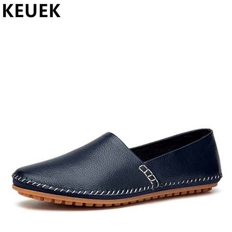 Large size Men Flats Hand-made Genuine leather Loafers Breathable Casual Driving shoes Soft Comfortable Slip-On Boat shoes 033