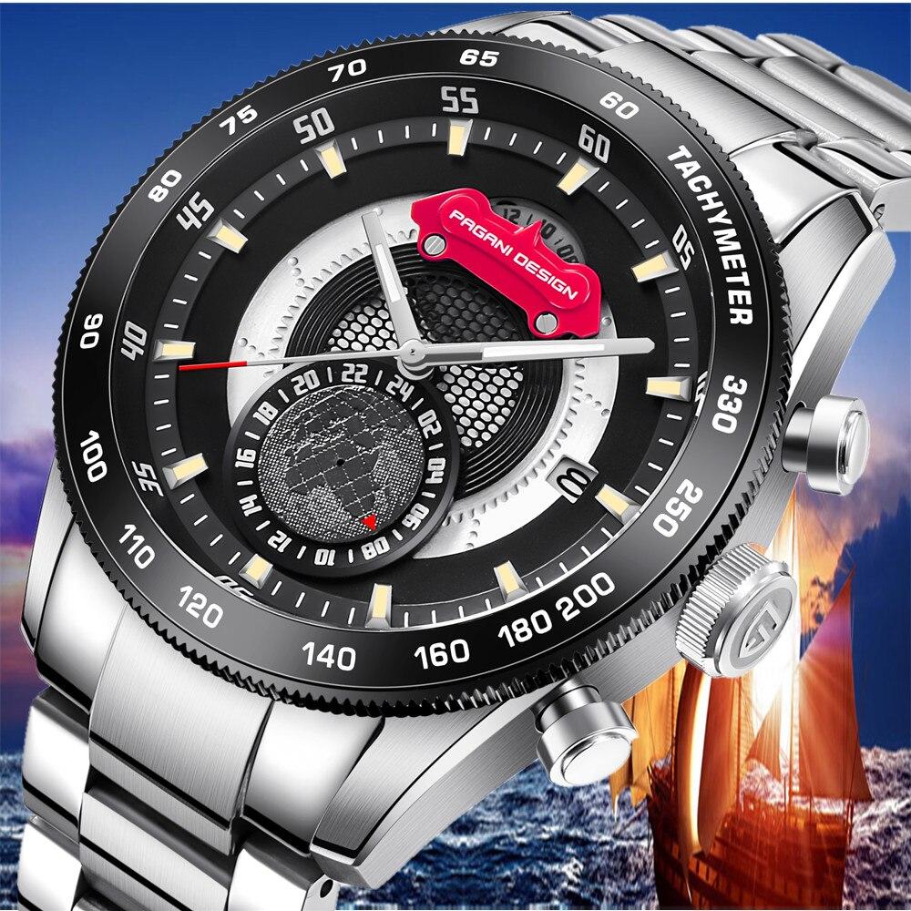 2019 PAGANI CONCEPTION Marque Nouveau Hommes Montres Reloj Hombre Mode Chronographe À Quartz Mens Montre Étanche Horloge erkek kol saati