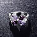 Anfasni delicada flor roxa cor prata anel de cristais austríacos genuínos aaa cubic zircon jóias ri-hq0257