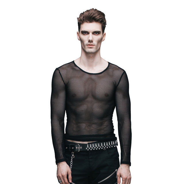 efd517b96b2d9 Devil Fashion Steam Punk Men s Sexy See through T Shirt Gothic Long Sleeve  Stretch Mesh Tee Shirt Tops-in T-Shirts from Men s Clothing on  Aliexpress.com ...