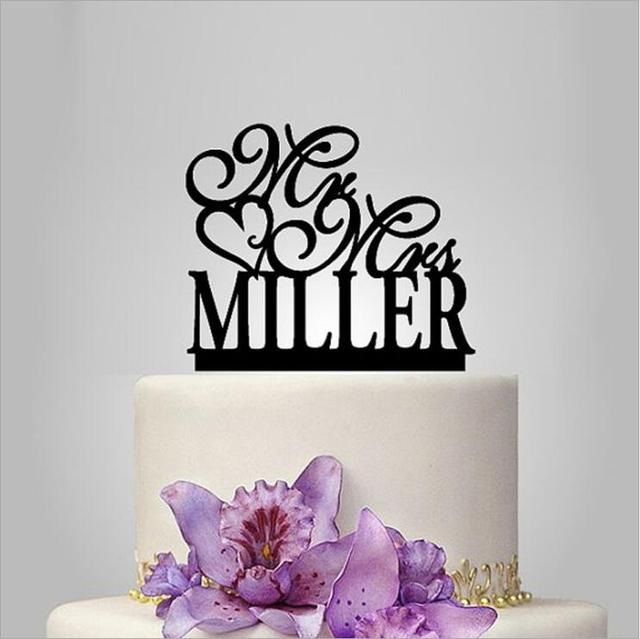 Customize Personalized Acrylic Cake Topper Mr Mrs Toppers Heart Design With Last Name Wedding