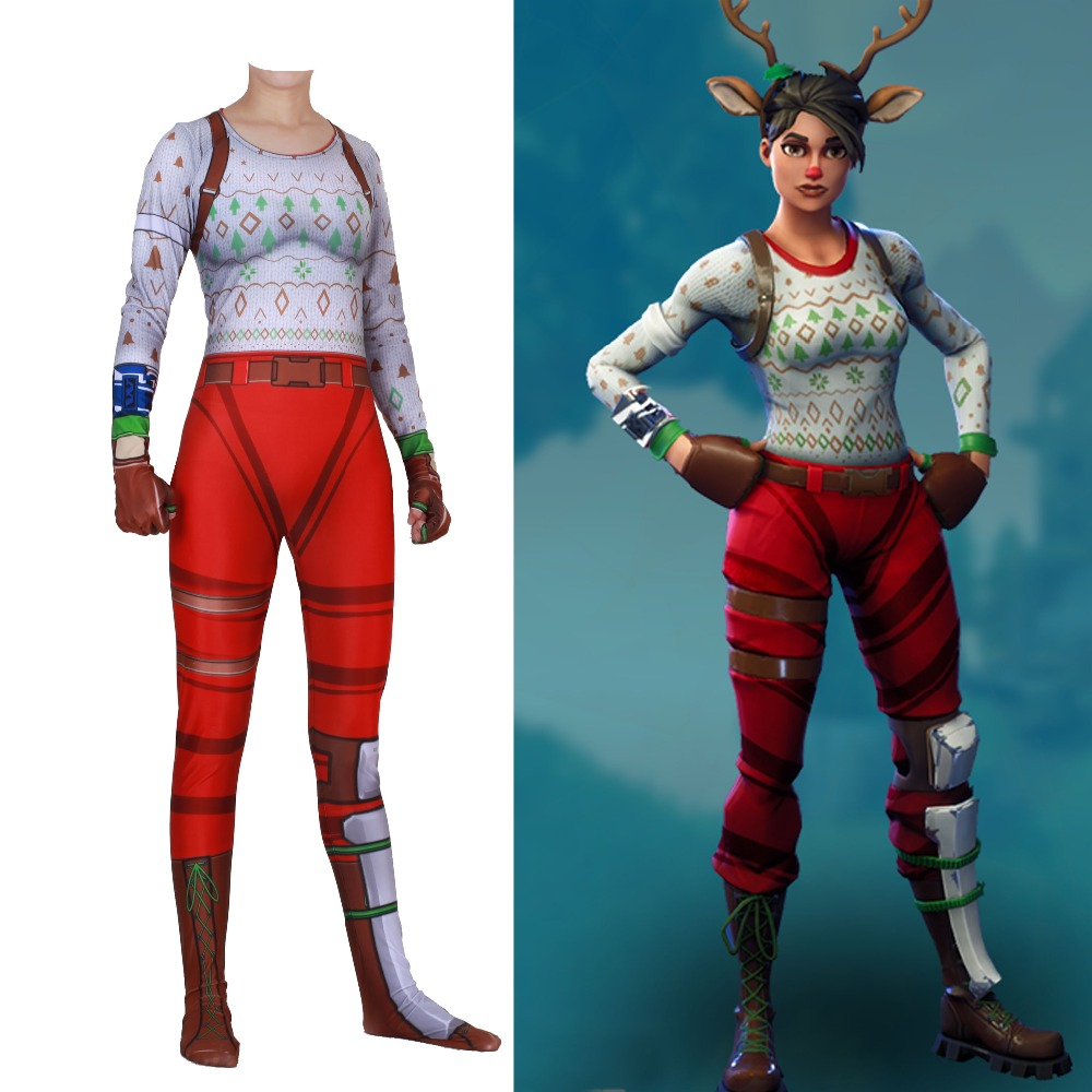 Halloween Saints' All Hallows' Day Epic Games RED NOSED RAIDER zentai Cosplay Costumes tights adults/children/kids