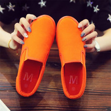 ARSMUNDI 2019 Women Sneakers for Summer Thick Bottom Flat Heel Female Orange Shoes Canvas Breathable Couple 35-44 M646
