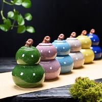 150+400ML luxury Ceramic Gourd shape, double the storage Tank Tea Pot Kung Fu Tea Set Sealing Can Storage Tea Caddy Canister