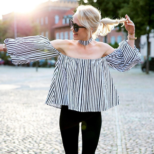 European women's 2017 hot style stripes Dew shoulder long sleeve shirts Women's Slash Sleeve Tops Street Wear clothing