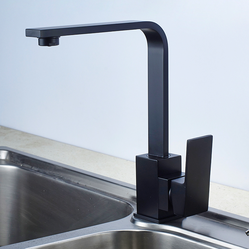 Kitchen Faucet Black Square 360 Degree Rotation Water Mixer Tap Brass Kitchen Sink Faucet Hot And Cold Single Handle Deck Mounte
