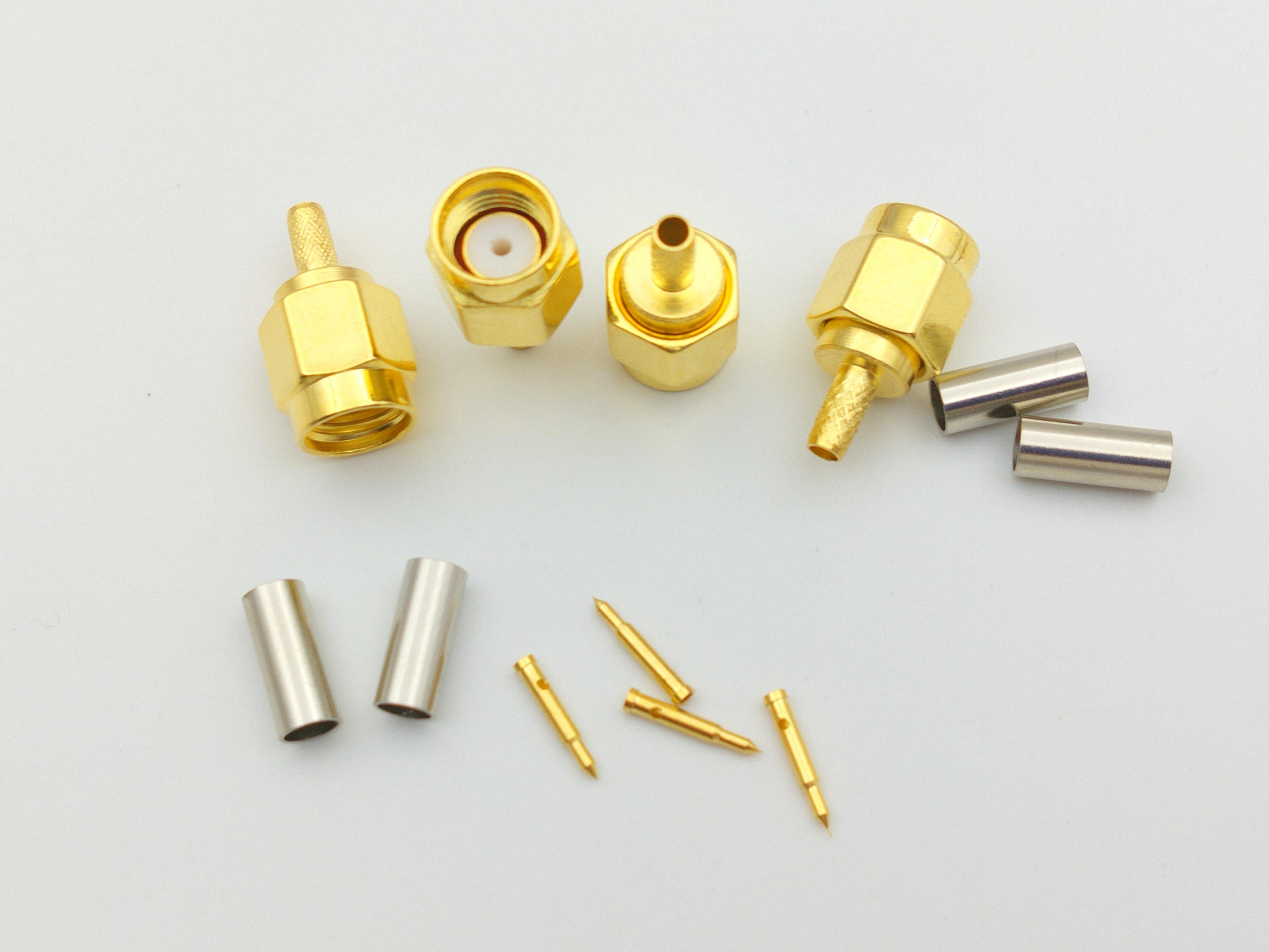 1000pcs lot SMA Plug male RF Crimp for LMR100 RG316 RG174 cable adapter connectors