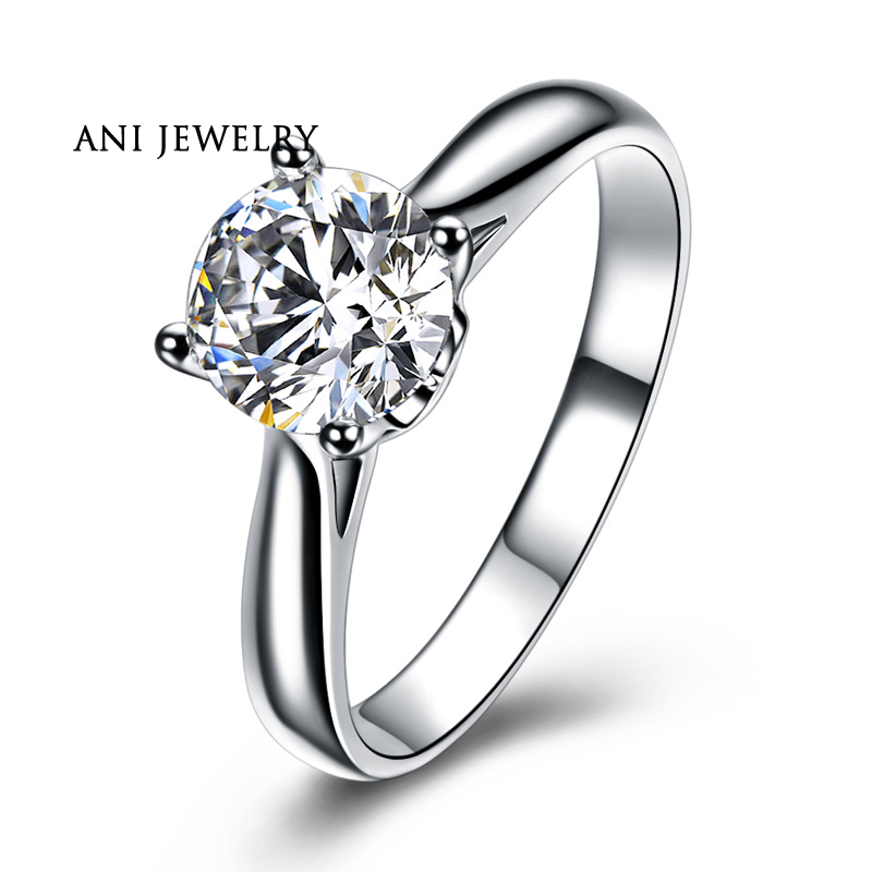ANI 18K White Gold (AU750) Wedding Ring 0.5 CT Certified I/SI Natural Solitaire Round Cut Diamond Classic Claws Women Rings ani 18k white gold au750 wedding ring 0 50 ct certified i si natural solitaire round cut diamond jewelry twisted bridal rings