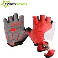 ROCKBROS Mens Breathable Cycling Gloves Half Finger Riding Bicycle Mittens Gel Pad Racing Biking Gloves Short