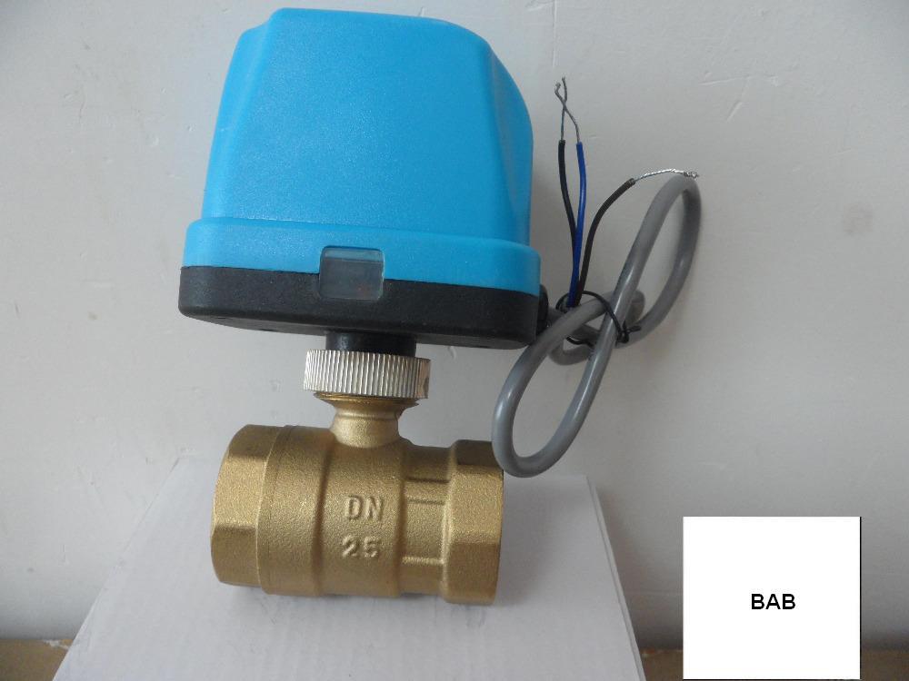 DN25 G1 0 AC220V electric actuator brass ball valve motorized motor driven ball Valve switch type