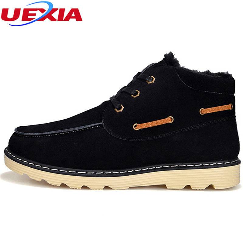 UEXIA Men Ankle Boots Fashion Autumn/Winter(No Plush/Plush) Footwear Leather Lace-Up Casual New Short Shoes Fur Cork Motorcycle men suede genuine leather boots men vintage ankle boot shoes lace up casual spring autumn mens shoes 2017 new fashion