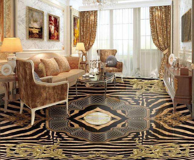 Customized 3d Flooring Waterproof Wallpaper Luxury Zebra Pattern 3d