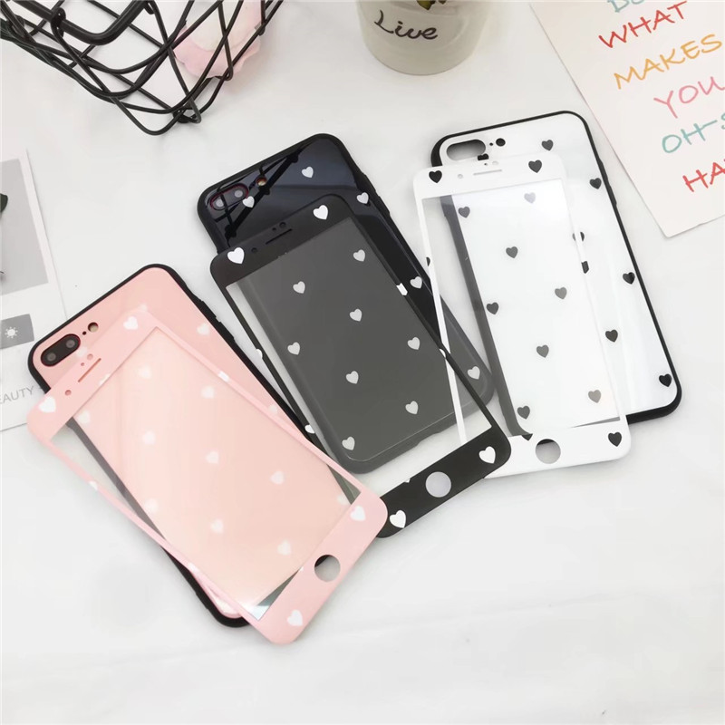 For iPhone 8 8plus Cartoon Love Heart glass Cover +Tempered Glass Screen Film for iphone X 7 7plus 6 6Splus pink cover + film