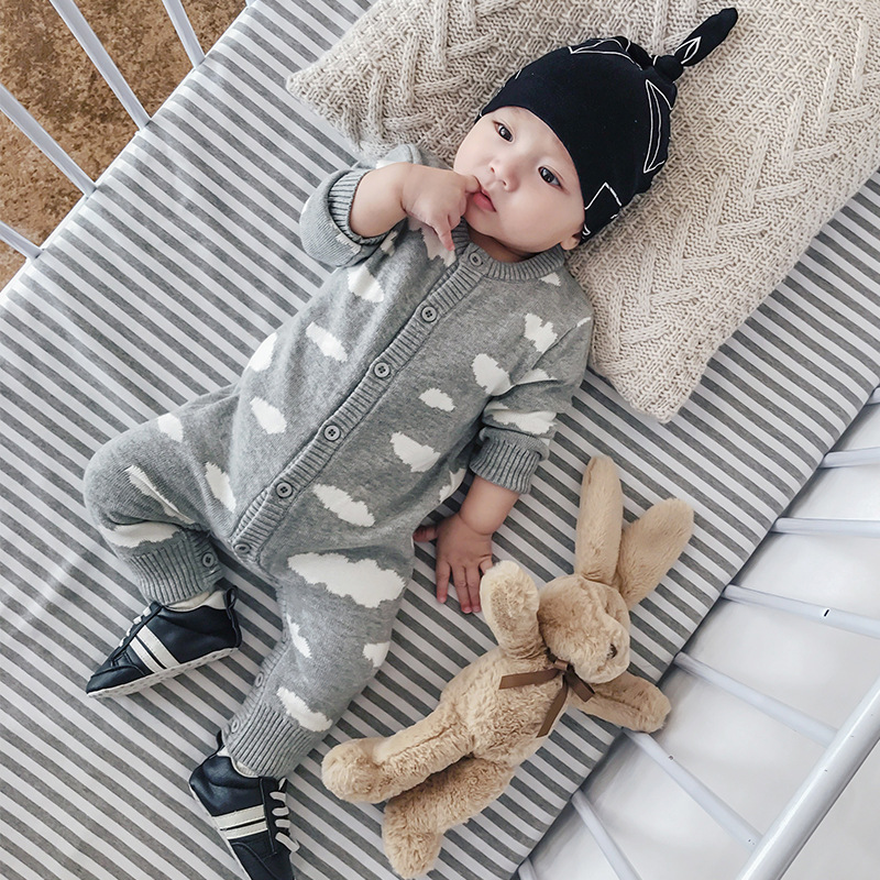 Baby Knitted Romper Cloud Pattern Pink Gray Color Baby Jumpsuit Autumn Winter Warm Baby Clothing Toddler Infant Costume baby pink v neck tassel detailed jumpsuit