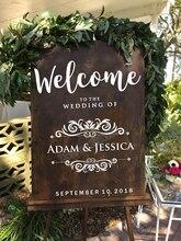 New Creative Wedding Sticker Personalised Name Wedding Welcome Sign Blackboard Decal Waterproof Vinyl Art Decor Custom Hot LC680