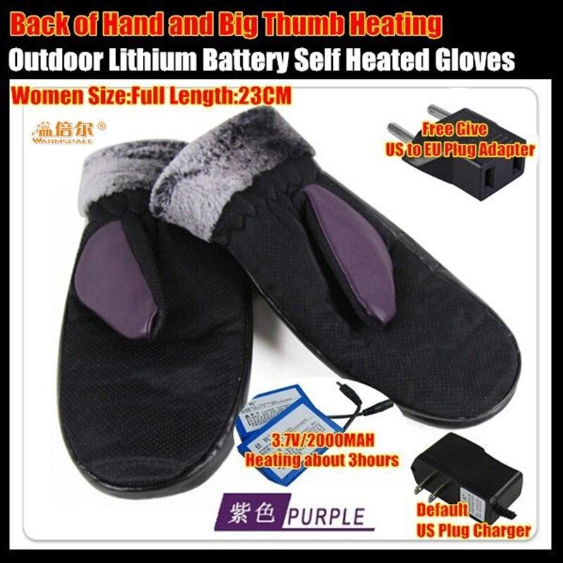 2000MAH Smart Electric <font><b>Heated</b></font> <font><b>Gloves</b></font>,PU Leather Outdoor Sport Skiing Mittens Lithium <font><b>Battery</b></font> 5-Finger&#038;Hand Back Self Heating