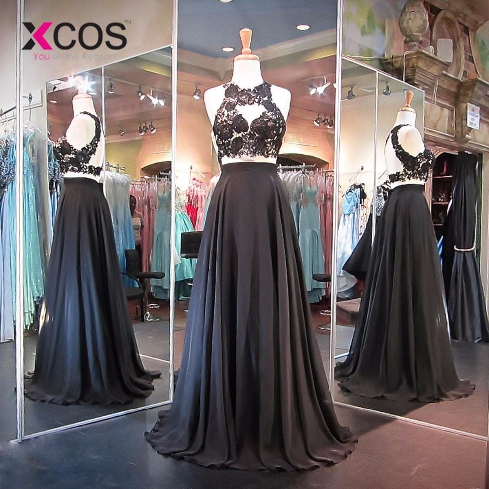 XCOS Crop-Top Black Evening Dress Chiffon Lace Sexy Two Piece Prom Dresses Open Back Appliques Beading vestido formatura