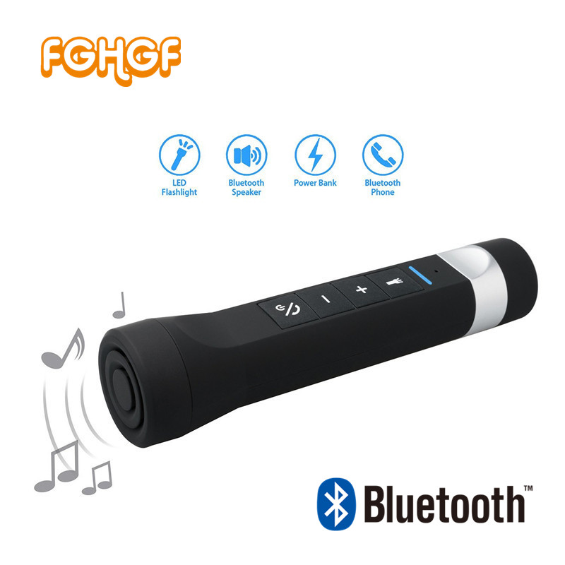 FGHGF Portable Outdoor Bluetooth Bicycle Bike Speaker LED Torch, <font><b>Phone</b></font> Charging, MP3 Player, SOS light, FM <font><b>Radio</b></font> 3 in 1 Speaker