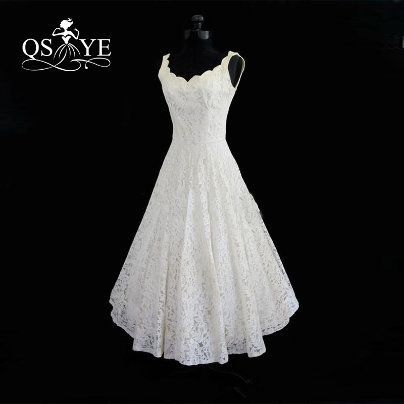 2017 Cheap Plus Size Tea Length Lace Summer Beach Wedding Dresses Real Photos Scoop Neck Sleeveless Bridal Gowns Vestido In Wedding Dresses From