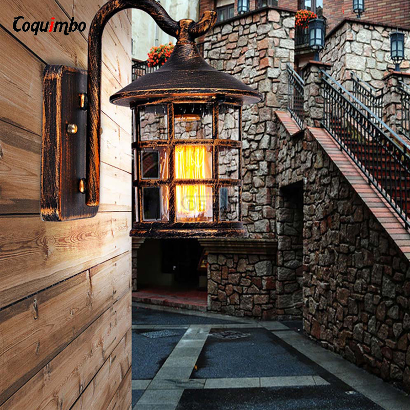 American Country Style Retro Wall Lamp Outdoor Wall Sconce Lamp Courtyard Light For Bar Coffee Shop Vintage Corridor Lights right left hand vintage wood american wall lamp loft study foyer dining room bar coffee shop wall light e27 edison sconce wwl091