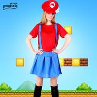 Mario cosplay meisje dame rode uniformen adult super mario kostuum gratis verzending
